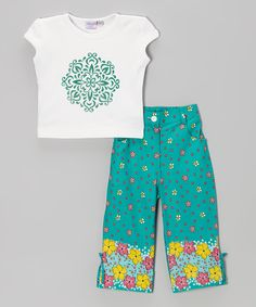 This Teal & White Floral Tee & Pants - Toddler & Girls by Blue Curl is perfect! #zulilyfinds