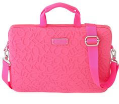 "Marc by Marc Jacobs Scrambled Logo Neoprene 15"" Commuter Bag in Knockout Pink"