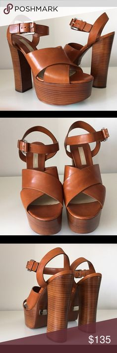 """MICHAEL KORS BROWN LEATHER PLATFORM SANDALS, SZ 41 MICHAEL KORS BROWN LEATHER PLATFORM SANDALS, SIZE 41, MADE IN ITALY, STACKED HEIGHT HEELS 6"""", PLATFORM 2"""", BRAND NEW WITH BOX AND TWO INDIVIDUAL DUST BAG Michael Kors Shoes Platforms"""