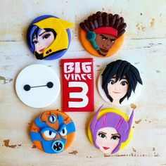 Big hero 6.  Baymax fondant cupcake toppers by DsCustomToppers