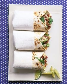 Beef-and-Potato Burritos - Martha Stewart Recipes. From magazine of Everyday Food.an old stand-by. Pinning so I have it with me wherever I am! Quick Beef Recipes, Ground Beef Recipes, Lunch Recipes, Mexican Food Recipes, Cooking Recipes, Burrito Recipes, Steak Recipes, Dinner Recipes, Mexican Entrees