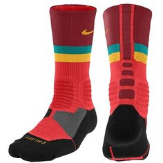 Nike Hyperelite Fanatical Crew Socks - Basketball - Accessories - Light Crimson/Team Red/Turbo Green/Atomic Mango #Nike #Socks
