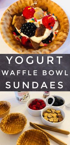 Yogurt Walffle Bowl Sundaes are a fun snack for kids! They would also be perfect for a birthday breakfast treat! Camp Snacks, Fun Snacks For Kids, Quick Snacks, Birthday Breakfast, Breakfast For Kids, Camping Meals, Kids Meals, Camping Places, Sundae Kids