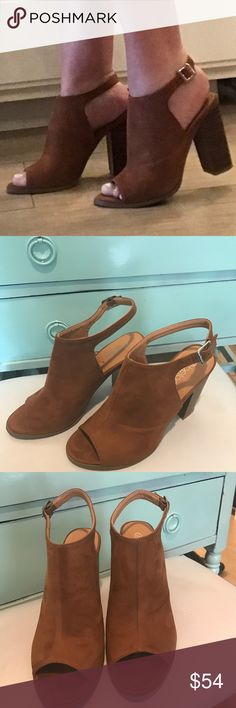 Jillian Camel Bootie Gorgeous camel colored booties! Faux suede comfort... perfect for all your outfits! 4.25 in heel! Shoes Ankle Boots & Booties