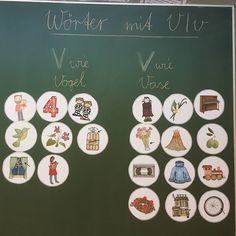 Wörter mit V/v. Danke @ideenreiseblog für die tollen Bildkarten! #happyteachingcommunity #instalehrerzimmer #grundschule #grundschulideen #klasse2 #deutschunterricht