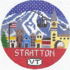 Hand painted Stratton Mountain Vermont by DoolittleStitchery