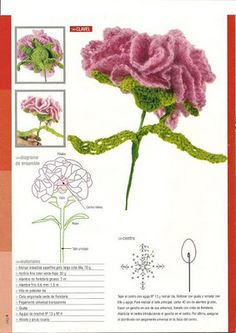 Crochet flower with diagram.  Looks like there are a few different ones.  I need to translate link
