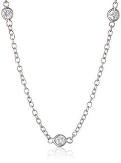 Sterling Silver Round Cubic Zirconia Station Necklace -- You can find more details by visiting the image link.