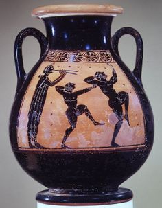 Terracotta pelike (wine jar). Attributed to the Acheloös Painter. Period: Archaic. Date: ca. 510 B.C. Reverse, flute player and two boxers