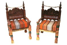"Indian Chairs  1910-1950 ETNIKA HOME DECOR AND ANTIQUES 18""L x 20""W x 36""H ($2,300.00)  $1,599.00 OneKingsLane.com"
