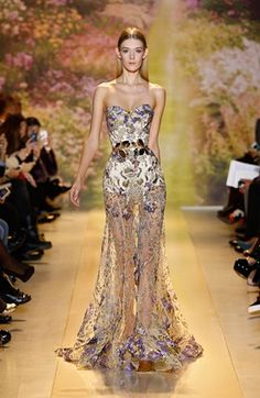 ZUHAIR MURAD - Strapless dress with yellow and purple crystal embellishments | s/s2014