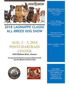 The Official Website of the Pontchartrain Center Dog Show, Cat Food, Dog Breeds, Dog Cat, Events, Cats, Classic, Cat Feeding, Derby