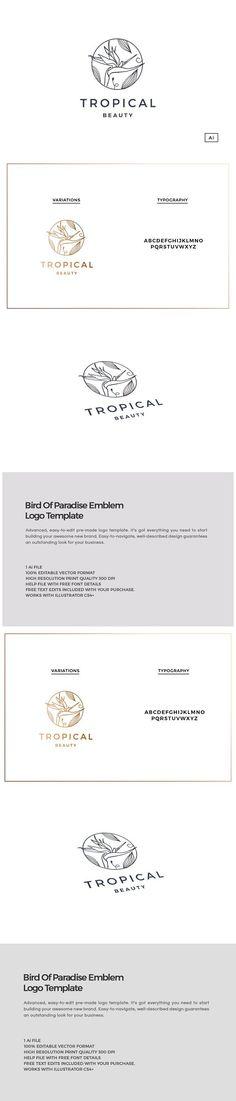 Bird Of Paradise Emblem Logo. Wedding Card Templates