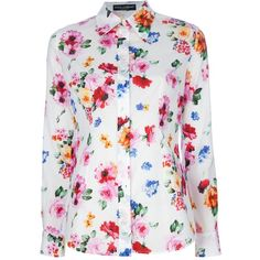 DOLCE & GABBANA floral blouse ($330) ❤ liked on Polyvore featuring tops, blouses, blusas, white blouses, multi color blouse, white floral top, white long sleeve top and floral long sleeve blouse