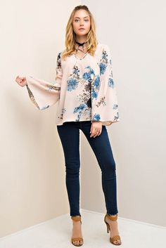 Floral Print Blouse with Strapy Detail