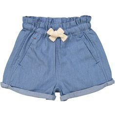 Light Blue Denim Manatee Comfy Shorts (97 PEN) ❤ liked on Polyvore featuring shorts, bottoms, drawstring shorts, elastic waist denim shorts, loose shorts, jean shorts and loose fit denim shorts