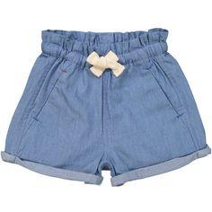 Light Blue Denim Manatee Comfy Shorts ($28) ❤ liked on Polyvore featuring shorts, jean shorts, elastic waist shorts, loose shorts, lightweight shorts and summer jean shorts