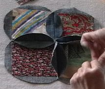 squares inside blue jean quilt....a good tutorial with a video