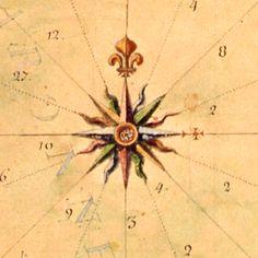 Rose des vents   détail d'une carte de Villefranche de Conflent