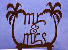 Mr and Mrs Wedding Cake Topper- Beach Wedding Cake Topper- Mr. and Mrs. with palm trees topper - Palm trees cake topper by CakeTopperConnection on Etsy https://www.etsy.com/ca/listing/150451506/mr-and-mrs-wedding-cake-topper-beach