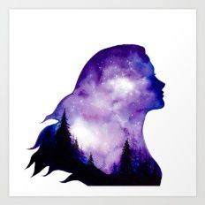 Glowing Sky Forest Girl Double Exposure Art Print by Ahmad Illustrations - X-Small Watercolor Girl, Watercolor Artists, Watercolor Painting, Galaxy Painting, Galaxy Art, Cool Art Drawings, Art Drawings Sketches, Freedom Art, Canvas Art