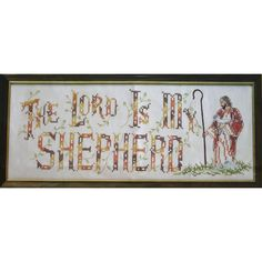The LORD Is MY SHEPHERD Vintage Stamped Cross Stitch Kit Linen Fabric by NeedleLittleTherapy on Etsy