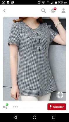 Button Embellished Plaid Print Short Sleeve Blouse on sale o Kurti Neck Designs, Blouse Designs, Sewing Clothes Women, Indian Designer Wear, Mode Style, Bollywood Fashion, Stylish Dresses, Fashion Outfits, Womens Fashion