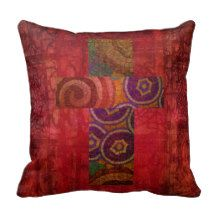 Colorful Contemporary Christian Mosaic Cross Art Throw Pillow