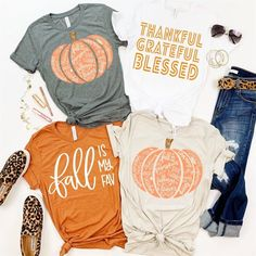 We want to share our Fall Wardrobe Must Haves with you. The sweaters, sweatshirts, cardigans, boots, and sneakers we can't wait to wear. #fallclothing #fallwardrobe Simple Shirts, Cute Shirts, Autumn T Shirts, Vinyl Shirts, Diy Shirt, Shirt Shop, Fall Season, Back Home, Fasion