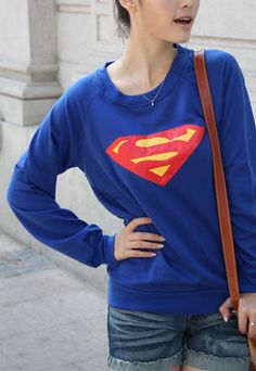 "$18.00 USD   [grls76000074]Leisure Superman Long Sleeve Blue Sweatshirt             Size: One Size: Length: 64CM(25.20"" ) Bust: 90CM(35.43"" )  Color: Blue  Material: Cotton  Style: Leisure  Heat: Superman"