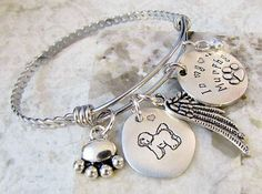 Bichon Frise Dog Hand Stamped Silver Expandable Memorial Remembrance Bangle Bracelet - Alex and Ani Inspired, Rainbow Bridge