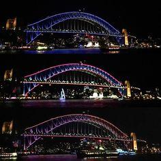 | Vivid Sydney 2016 | Sydney Harbour Bridge lit up in vibrant colours.  #vividsydney #sydney #sydneyharbour #sydneyharbourbridge #ilovesydney #sydneyoperahouse #sydneylife #travel #travelphotography #luxury #winter #lights #city #sydneyeats #fitness #swag  #vscocam #igerssydney #foodie by patjwong http://ift.tt/1NRMbNv