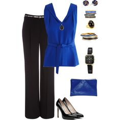 """""""Blue & Black for work"""" by parochick on Polyvore"""