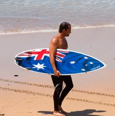 Here's a great Australian flag surfboard mates! Happy Australia Day, Australian Flags, Lest We Forget, She Likes, Surfs Up, Beautiful Beaches, Surfboard, Beach Mat, Celebration