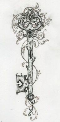 Mystical tree key tattoo design