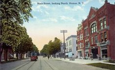 vintage ~ Main Street, looking North, Homer, NY Main Street, Street View, Old Postcards, Travel Bugs, Maine, Vintage, Collection, Primitive