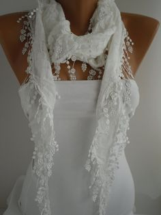 White Shawl and Scarf  Headband -Cowl with Lace Edge -Summer Trendsby DIDUCI $15.90