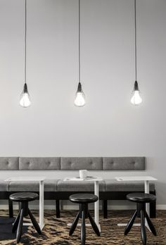 Office Design by Apricus Work Office Design, Coffee Shop Design, Ceiling Lights, Interior Design, Home Decor, Nest Design, Decoration Home, Home Interior Design, Room Decor