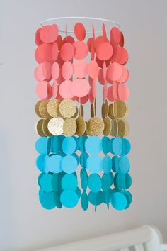 Coral Teal/Aqua and Gold Paper Mobile by FourGlitteredGeese