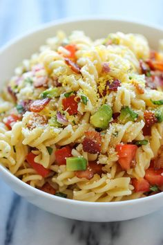 Bacon Avocado Pasta ~ An easy 20 minute pasta dish loaded with fresh avocado, crisp bacon and Parmesan goodness!