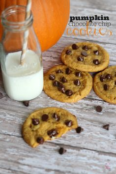 This Pumpkin Chocolate Chip Cookies recipe is chewy perfection! The secret is to allow them to cool for at least an hour. Add this to your Fall cookie recipes board!