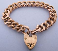 Boxed Victorian Heavy 9k 9ct Rose Gold Ornate Curb Link Bracelet 7 & 3/4 inches