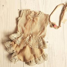 Cod 220Newborn Lace Romper beige baby by 4LittlePrincessProps