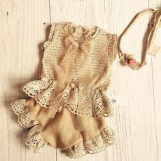 Cod 220Newborn Lace Romper beige baby by 4LittlePrincessProps