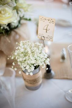 #Babysbreath is the perfect flower for a #rustic #wedding {Anna Marisol Photography}
