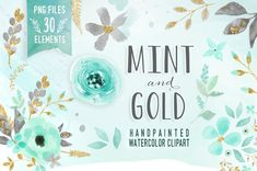 Mint and Gold - is a beautiful set of fall hand drawn watercolor digital clip art. Perfect for wedding invitations, baby and bridal shower