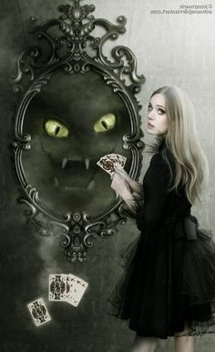 Through the Looking Glass | Alice in Wonderland  - dark.  Cheshire cat. Poster/painting