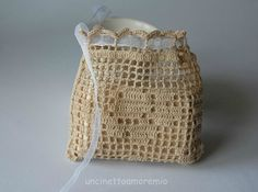 Sacchettino con rosa: wedding  crochet