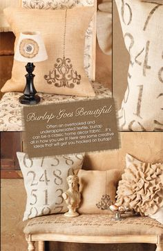 Often an overlooked and underappreciated textile, burlap can be a classic home décor fabric…. Here are some creative ideas that will get you hooked on burlap! Burlap Projects, Burlap Crafts, Fabric Crafts, Sewing Projects, Diy Projects, Diy Crafts, Burlap Lace, Burlap Fabric, Burlap Pillows