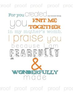 PSALM 139 - Digital File to Print Christian Nursery Subway Art - Baby Boy Room Decor - New Baby Shower Gift GRAY Orange TEAL. $5.00, via Etsy.  #SPYG